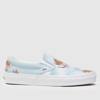 Vans White & Pl Blue Classic Checkerboard Womens Trainers