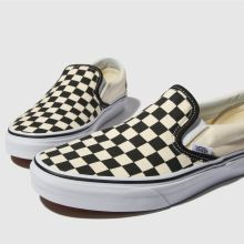 vans classic black and cream checkerboard slip-on trainers