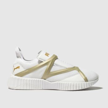 Puma White & Gold Defy Cage Womens Trainers