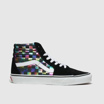 Vans Black & Silver Sk8-hi Iridescent Check Trainers