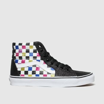 Vans Black & Pink Sk8-Hi Glitter Checkerboard Womens Trainers