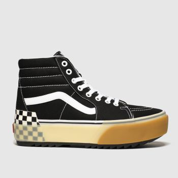Vans black & white sk8-hi stacked trainers