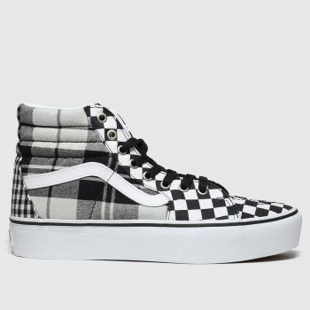 Vans White & Black Sk8-hi Platform 2 Plaid Trainers