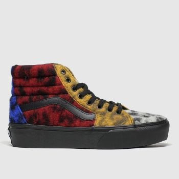 Vans Black & Red Sk8-hi Platform Mixed Leopard Womens Trainers