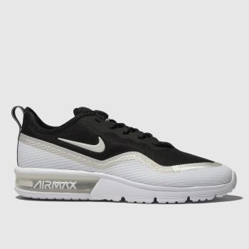 nike black & silver air max sequent 4.5 trainers