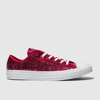 99789aba4b52 Converse Red All Star Sequin Ox Womens Trainers