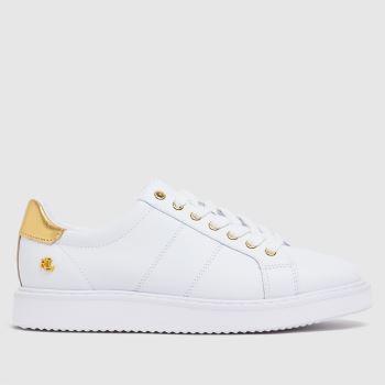 LAUREN RALPH LAUREN White & Gold Angeline Ii Sneaker Womens Trainers