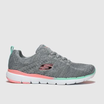 Skechers Grey Flex Appeal 3.0 Reinfall Trainers