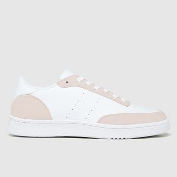 schuh White & Pink Manning Court Lace Up Trainers