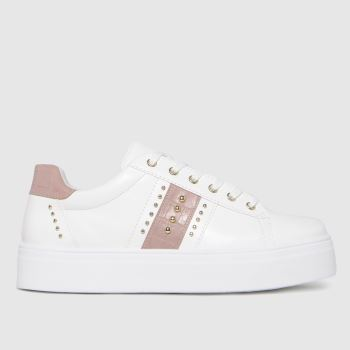 schuh White & Pink Mina Lace Up Studded Womens Trainers