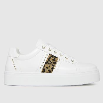 schuh White & Brown Mina Lace Up Studded Trainers