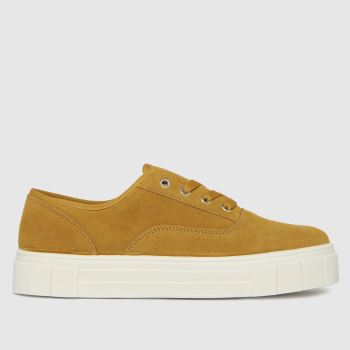 schuh Yellow Miley Suede Lace Up Womens Trainers