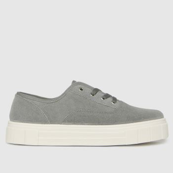 schuh Light Grey Miley Suede Lace Up Womens Trainers