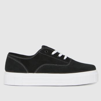 schuh Black Miley Suede Lace Up Womens Trainers