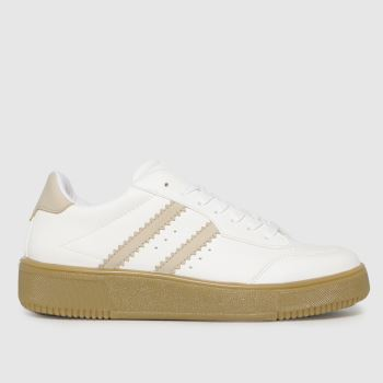 schuh White & Beige Macy Lace Up Womens Trainers