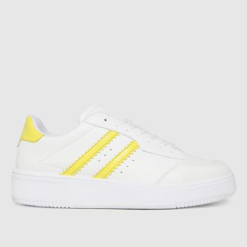 schuh White & Yellow Macy Lace Up Womens Trainers