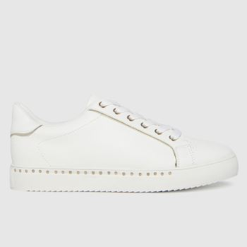schuh White & Gold Mika Studded Lace Up Womens Trainers