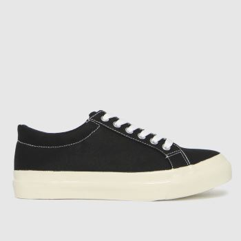 schuh Black Maisie Canvas Lace Up Womens Trainers
