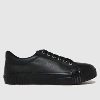 schuh Black Maddie Lace Up Womens Trainers