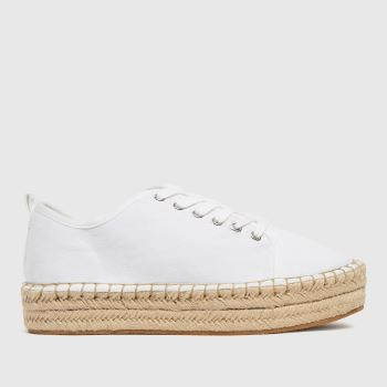 schuh White Mila Canvas Espadrille Lace Up Womens Trainers