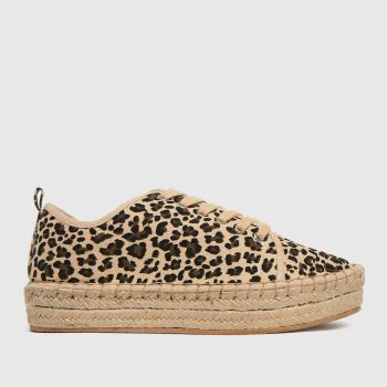 schuh Beige & Brown Mila Canvas Espadrille Lace Up Womens Trainers