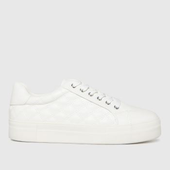 schuh White Monica Padded Lace Up Womens Trainers
