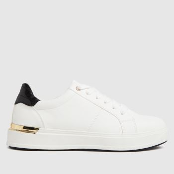 schuh White & Black Marilyn Lace Up Womens Trainers