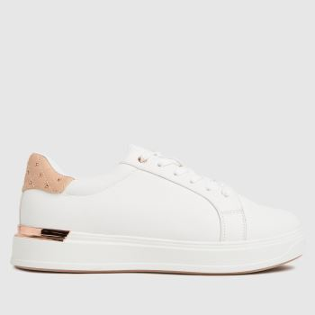 schuh White & Pink Marilyn Lace Up Womens Trainers