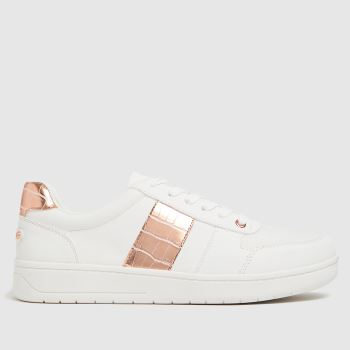 schuh White & Pink Marlena Lace Up Studs Womens Trainers