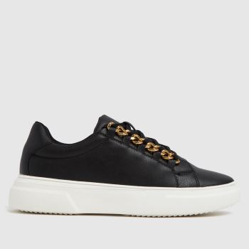 schuh Black Nia Chain Detail Lace Up Trainers