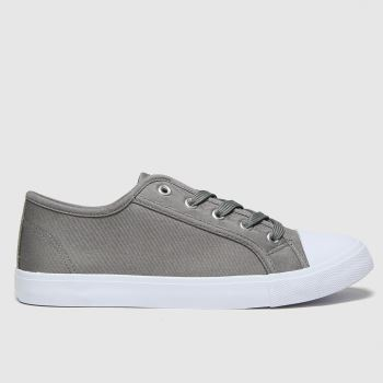 schuh Light Grey Margot Basic Canvas Lace Up Womens Trainers