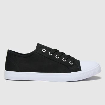 schuh Black Margot Basic Canvas Lace Up Womens Trainers