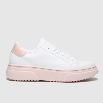 schuh White & Pink Marissa Lace Up Womens Trainers
