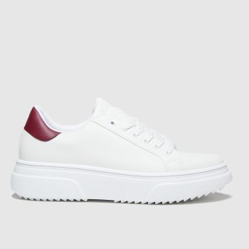 schuh White & Burgundy Marissa Lace Up Womens Trainers#