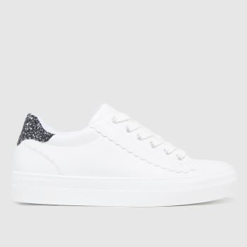 schuh White Monroe Lace Up Scallop Womens Trainers