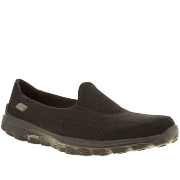 d1da90b5759b16 womens skechers black go walk 2 trainers