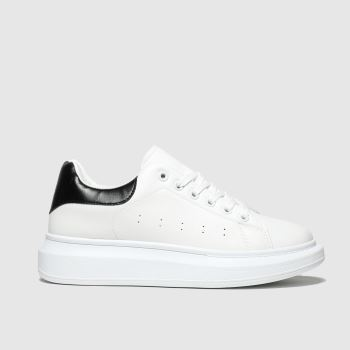 schuh White & Black Breezy Lace Up Womens Trainers