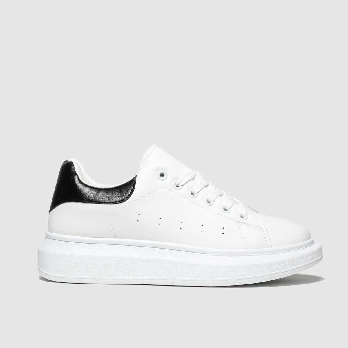 schuh Schuh White & Black Breezy Lace Up Trainers