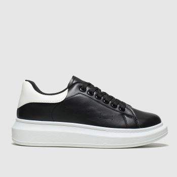 schuh Black & White Breezy Lace Up Womens Trainers