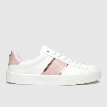 schuh White & Pink Flawless Lace Up Womens Trainers
