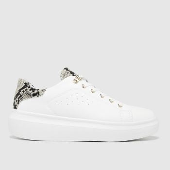 schuh White Misty Hardware Lace Up Womens Trainers