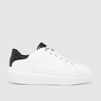 schuh White & Black Misty Hardware Lace Up Womens Trainers