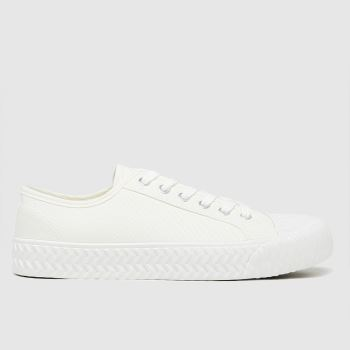 schuh White Mia Canvas Lace Up Womens Trainers