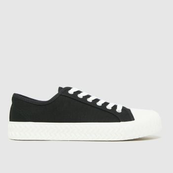 schuh Black Mia Canvas Lace Up Womens Trainers