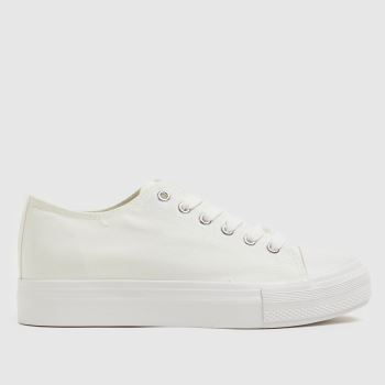 schuh White Noella Flatform Lace Up Womens Trainers