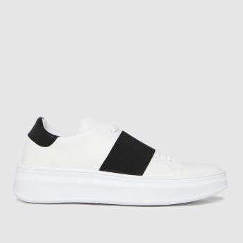 schuh White Madison Elastic Detail Womens Trainers