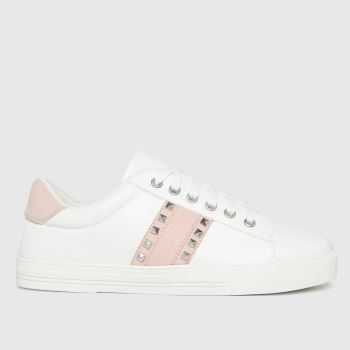 schuh White & Pink Melissa Stud Detail Womens Trainers