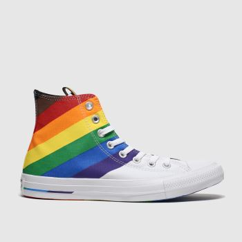 Converse White All Star Pride Hi Womens Trainers