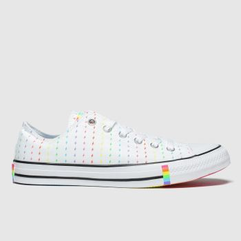 Converse White & Red All Star Pride Ox Womens Trainers