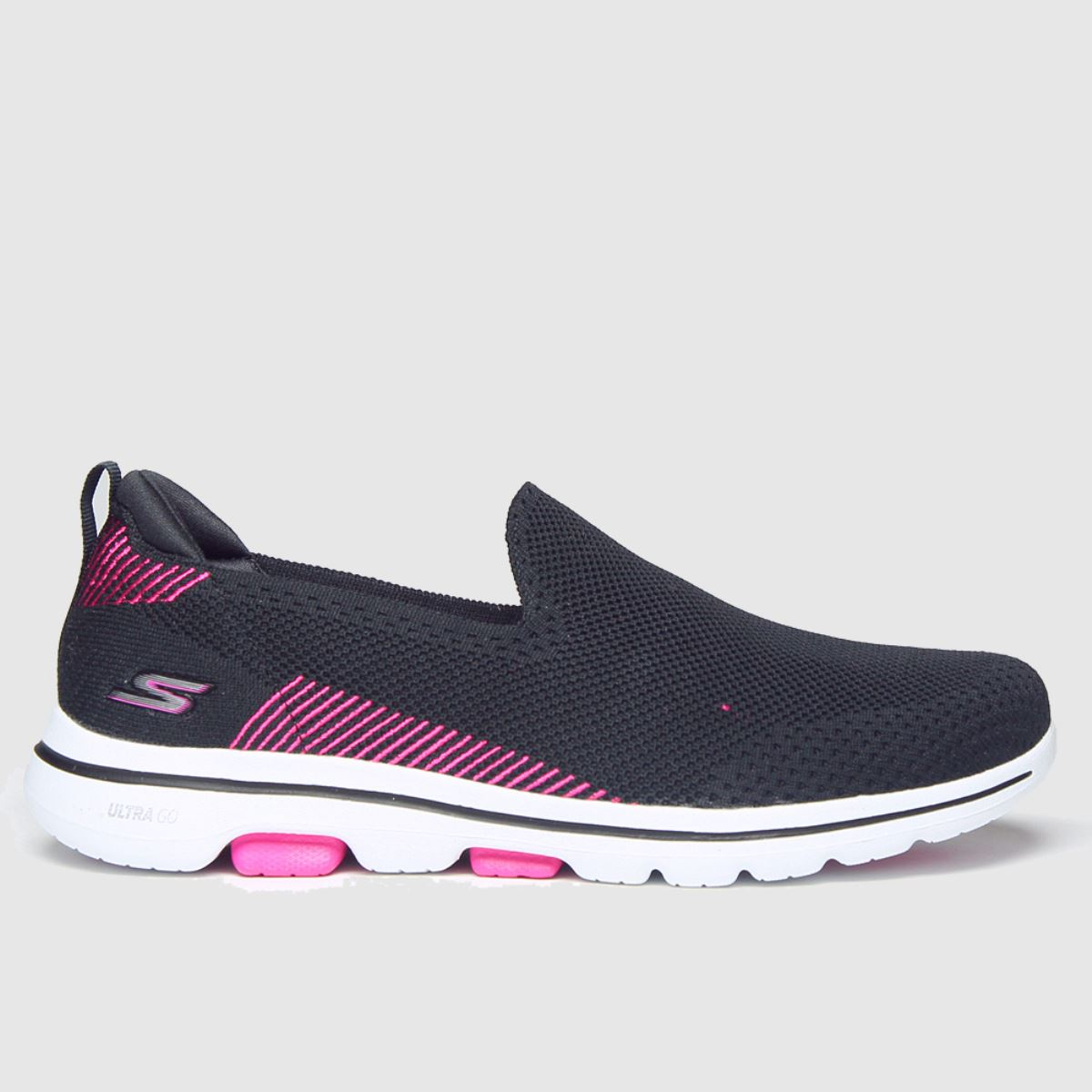Skechers Black & Pink Go Walk 5 Prized Trainers